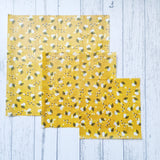 Happy Bees Mixed Set of 3 Beeswax Food Wraps