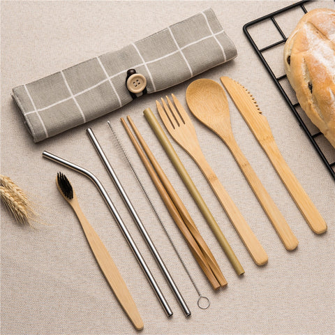 10 Pc Bamboo Travel Cutlery Set