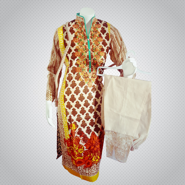 Pakistani Indian Women 3 Pieces Embroidered Cotton Lawn Dress