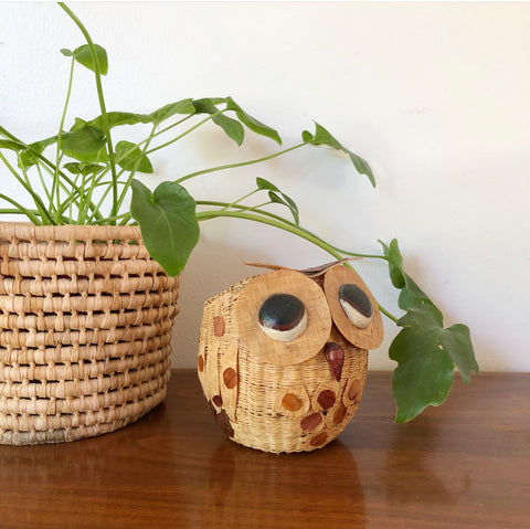Vintage Wicker Owl Planter
