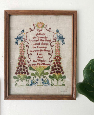 Vintage Framed Embroidery of Serenity Prayer