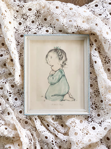 "Vintage Precious Moments Print of Little Girl Kneeling Praying ""A Child's Prayer"""