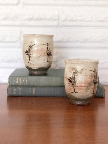 Pair of Handcrafted Cups with Cranes