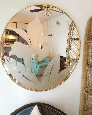 Large Round Vintage Signed Mirror