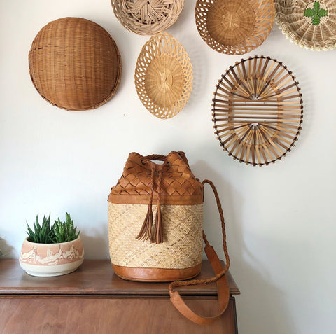 Wicker + Leather Bag