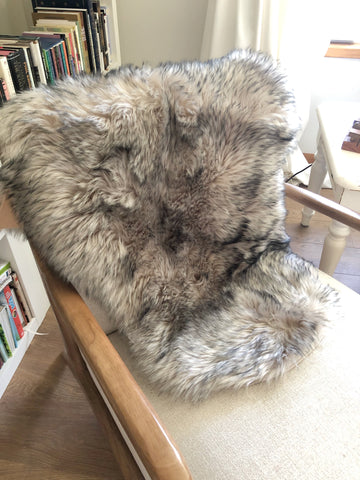 Brand New Grey Faux Fur Rug or Throw