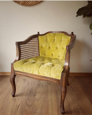 Vintage Crushed Green Velvet Chair