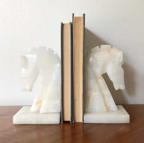 Vintage Onyx Horse Head Bookends