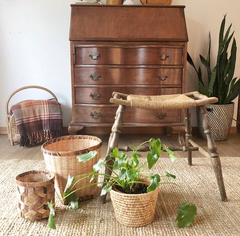 Vintage Wood + Wicker Stool