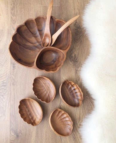 Wooden Clam Shell Salad Set