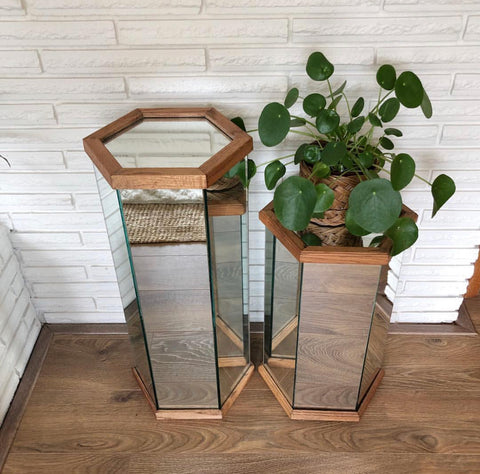 Vintage Mirrored Plant Stands