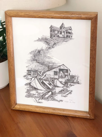Vintage black and white print in wood frame