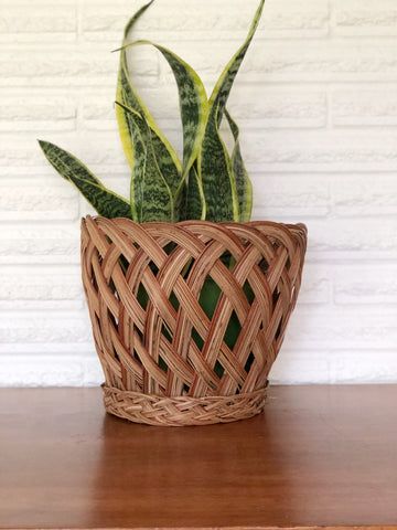 Vintage Wicker Planter Basket