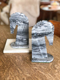 Pair of Vintage Marble Horse Head Bookends