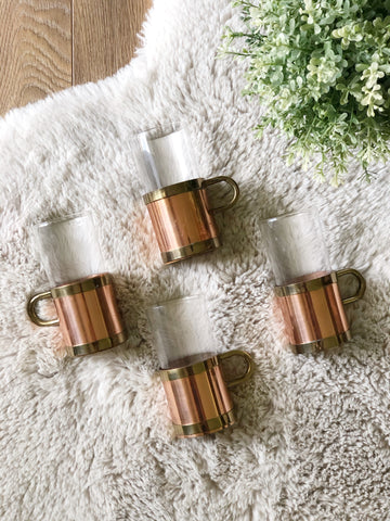 Set of Four Vintage Brass, Copper & Glass Drinking Mugs