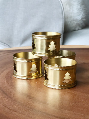 Set of Four Gold Napkin Holders w/ Christmas Tree Design