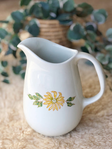 Ceramic Pitcher or Vase with Yellow Flower