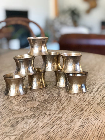 Set of Eight Brass Napkin Rings w/ Hammered Detailing