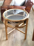 Vintage Boho Round Bamboo Side Table w/ Glass Top