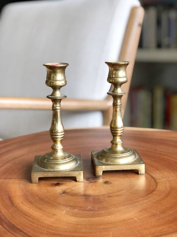 Vintage Brass Candle Holder Pair Made in England