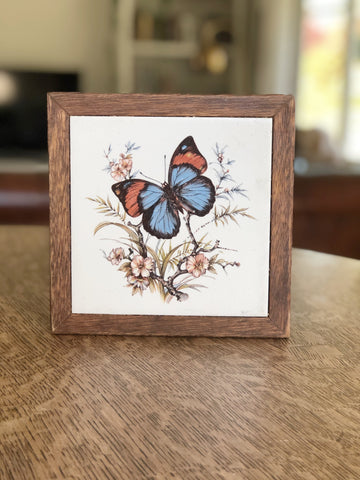 Wood Framed Ceramic Butterfly Trivet