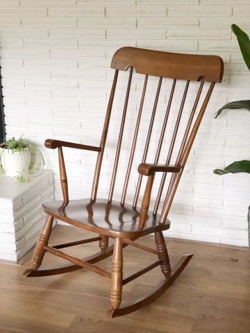 Beautiful Sturdy Vintage Solid Wood Rocking Chair