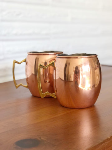 Pair of Copper Moscow Mule Mugs w/ Brass Handles
