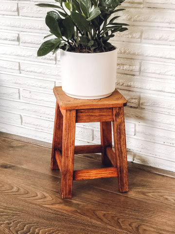 Wooden Plant Stand w/ Carved Floral Design On Top