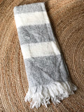 Grey and White Striped Soft Acrylic Blanket