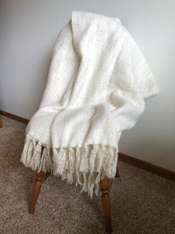 "Brand new cream colored throw blanket with fringe 50""x60"""