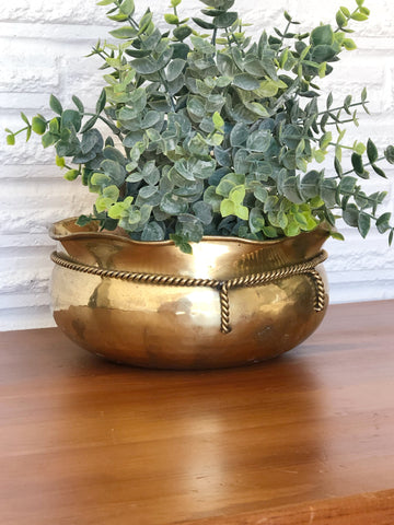 Shallow Vintage Brass planter with Gold Rope Detailing