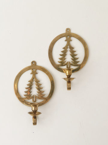 Vintage Brass Candle Holder Wall Sconce w/ Christmas tree design