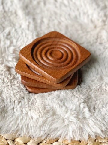 Set of Four Genuine Teak Coaster Set