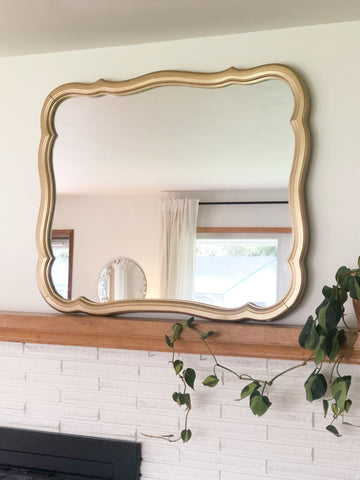 Large Vintage Wall Mirror with Painted Gold Frame