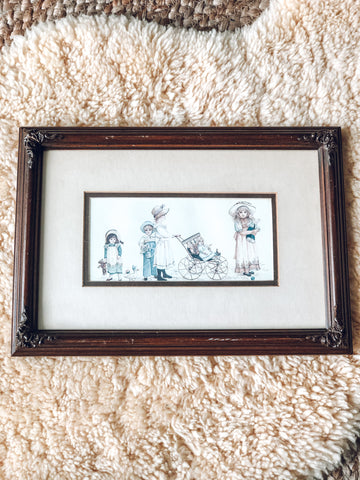 Wood Framed Print With Children