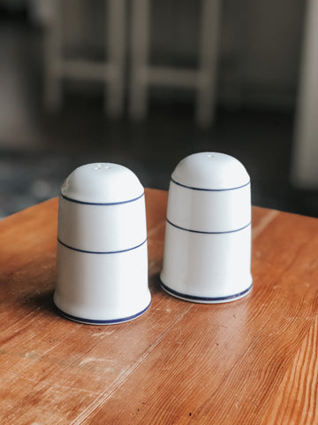 Salt and Pepper Shaker Set w/ Blue Stripes