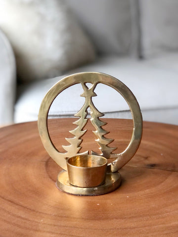 Brass Christmas Tree Votive or Tea Light Candle Holder