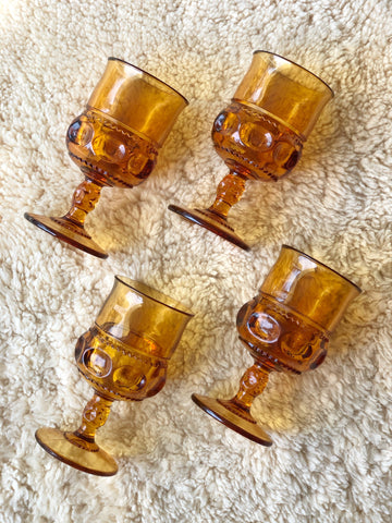 Set of Four Amber Glass Goblets