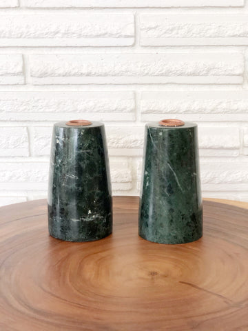Pair of Green Marble Candle Holders