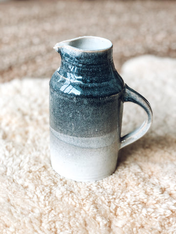 Pottery Vase or Pitcher w/ Handle in Blue/Grey tones