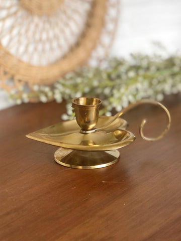 Vintage Brass Heart Candle Holder w/ Handle