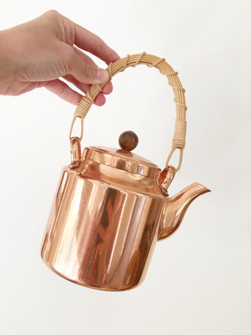 Vintage Copper Kettle w/ Wicker Handle