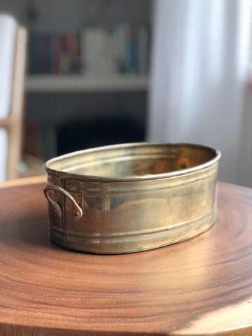 Oval Brass Planter w/ Handles