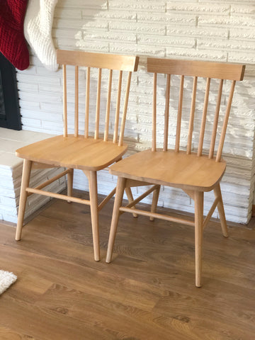 Pair of Brand New Modern Windsor Style Chairs in Natural Wood Color