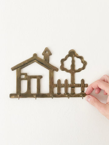 Vintage Brass House & Tree Key Wall Hook