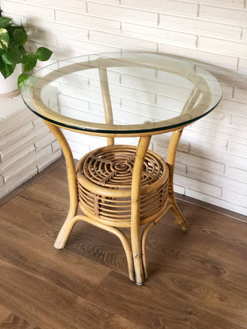 Stunning Vintage Bamboo Round Side Table With Glass Top