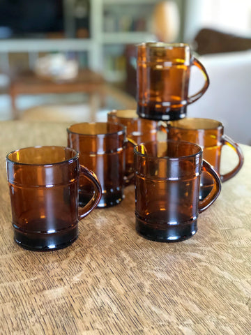 Set of six vintage smokey glass Anchor Hoking Fire King Glass mugs