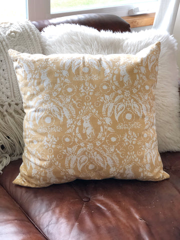 Like New Throw Pillow, Yellow w/ Bunnies