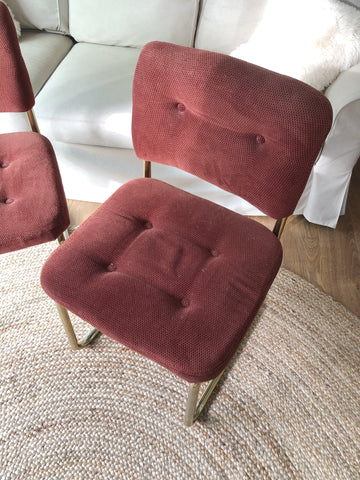 Vintage Pair of Cesca Style Maroon Upholstered Chairs