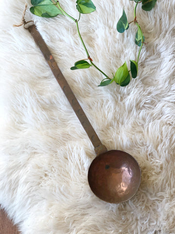 Large Vintage Hanging Decorative Copper Ladle